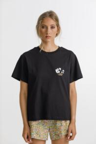 THING THING PRIME TEE BLACK WITH FLORA PRINT