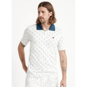 BRIXTON PROPER MESH S/S X POLO OFF WHITE/WASHED NAVY