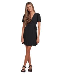 BILLABONG SUNSHINE WRAP DRESS BLACK
