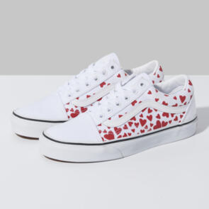 VANS OLD SKOOL (VALENTINES HEARTS) TRUE WHITE RACINGRED