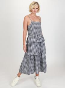 FEDERATION WOMENS WILLOW DRESS BLACK / WHITE GINGHAM