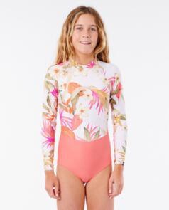 RIP CURL WETSUITS 2021 GIRLS BZ LS SURFSUIT PINK