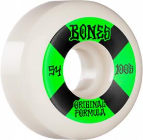 BONES 100'S #4 54MM WHITE GREEN V5 SIDECUT