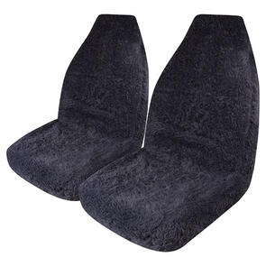 HYPER DRIVE MINK FUR CHARCOAL FRONT SEAT COVER PAIR