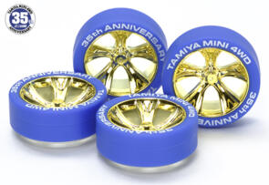 TAMIYA MINI 4WD 35TH ANNIV GOLD PLATED WHEEL & TYRE