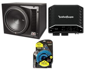 ROCKFORD FOSGATE P1-1X12 SUB + RF AMP + WIRING KIT LOCKDOWN PACKAGE