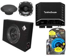 ROCKFORD FOSGATE SUPER PACKAGE! SPEAKERS + SUB + AMP + WIRING KIT